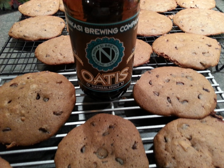 Oatmeal Stout Cakies, and the bottle they came out of