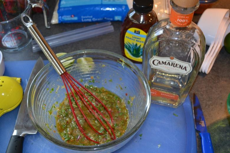 Stirring up the marinade