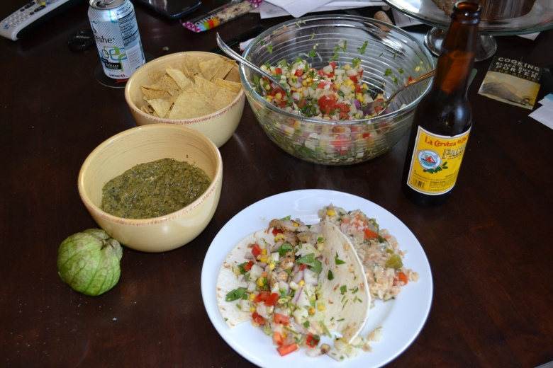 Our complete Cinco de Mayo meal, including the titular salsa on the left