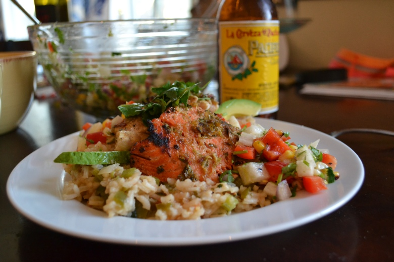 Drunken fish over Mexican flavored veggie rice, served with Jicama Salsa