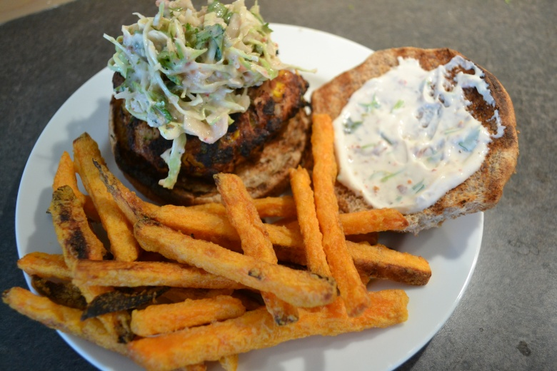 Turkey burgers with chipotle aioli and sweet potato fries