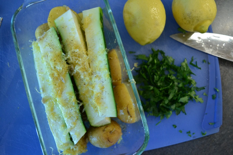 Zucchini and lemon-zest, over a bed of mini-potatoes