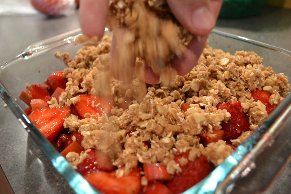 Fruit on the bottom, crumble on the top!