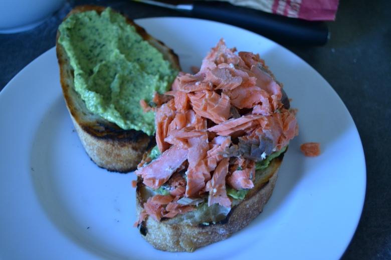 Avocado Pesto and Grilled Salmon Sandwiches