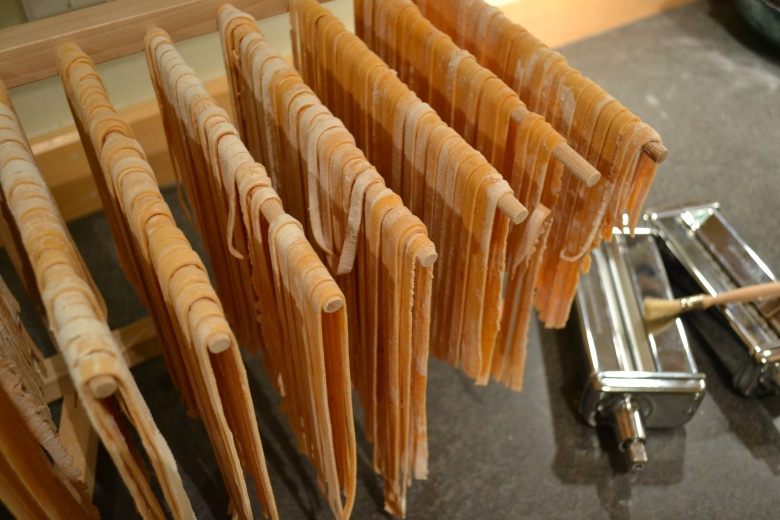 Hang the pasta to dry if not using it immediately