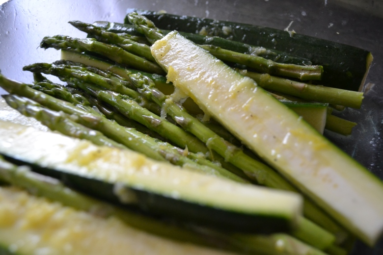 Zucchini and asparagus, marinating in their lemon-bath