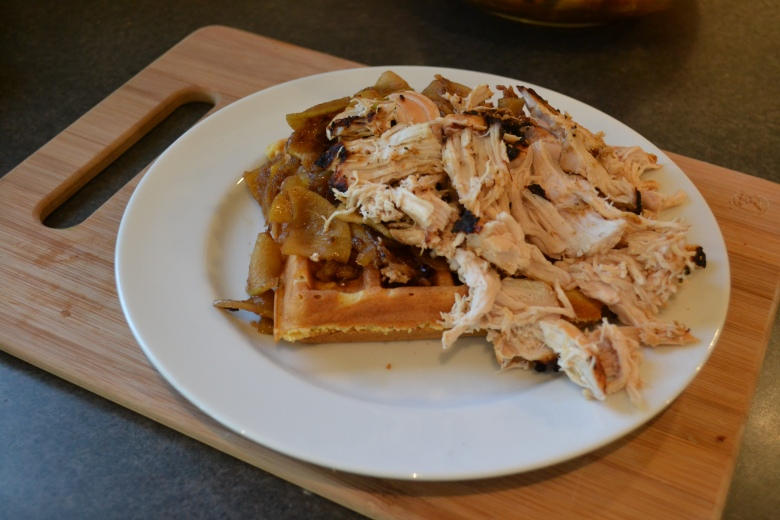 My cornbread waffles with pulled chipotle chicken and onion-apple chutney