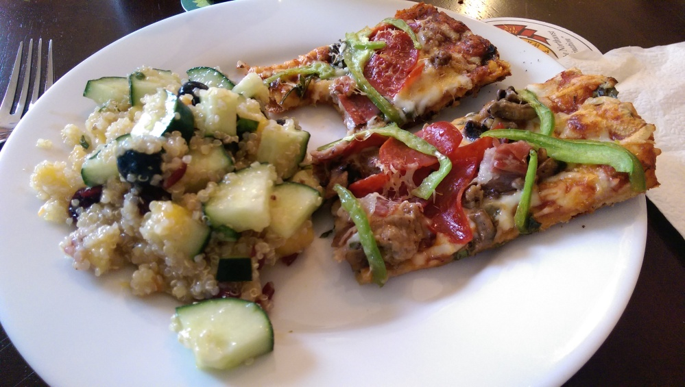 Grilled pizza, and a quinoa cucumber salad that my friend made