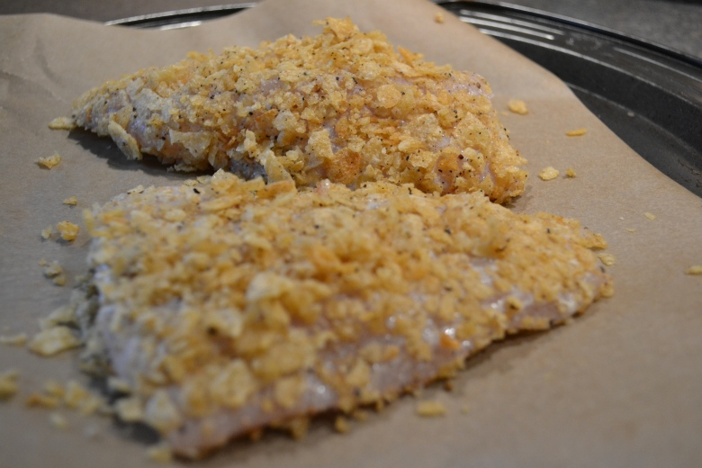 Lingcod fillets - coated and waiting for the oven