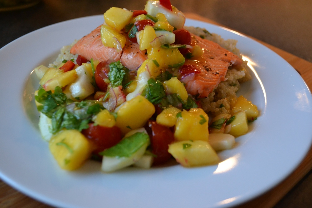 Salmon, quinoa and fruit-salsa makes for a hearty, healthy and photogenic meal!