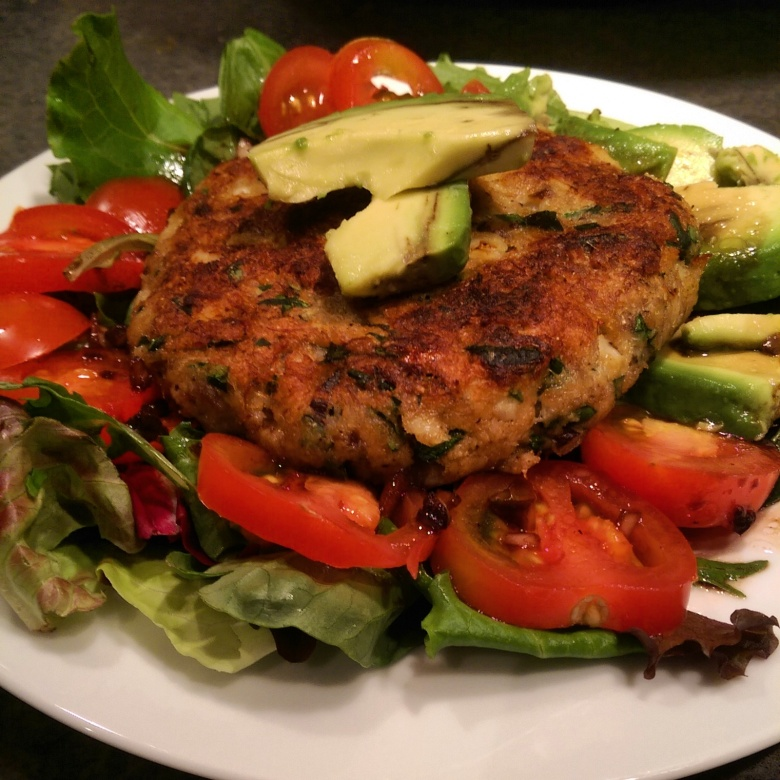 Rockfish cakes (with bacon, of course) over a simple salad