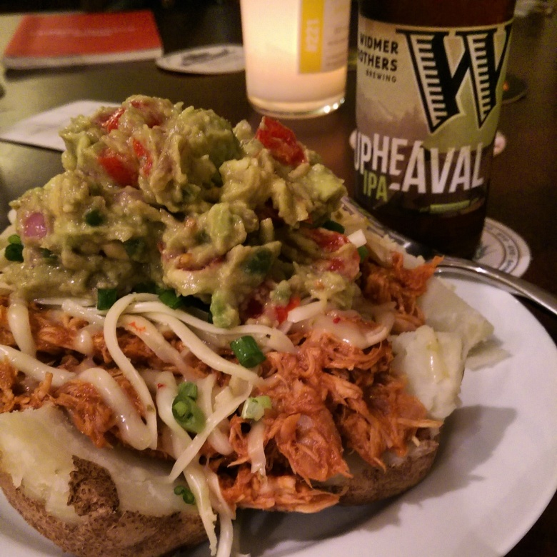 Loaded potato with some leftover guacamole and a Widmer IPA to wash it down! Cheers!